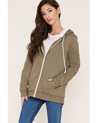 Forever 21 | Green Zippered Plush Hoodie | Lyst