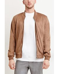 Forever 21   Brown Faux Suede Bomber Jacket for Men   Lyst