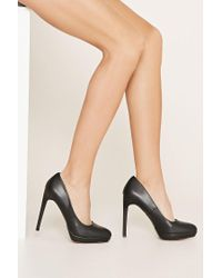 Forever 21 - Black Classic Faux Leather Heeled Shoes - Lyst