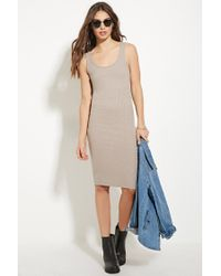 Forever 21 | Natural Ribbed Knit Bodycon Dress | Lyst