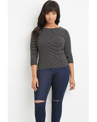Forever 21 | Black Plus Size Boat-neck Micro-striped Top | Lyst