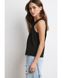 Forever 21   Black Tulip-back Textured Top   Lyst