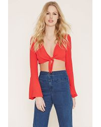 Forever 21 | Red Tie-front Crop Top | Lyst