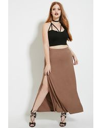 Forever 21 | Green Plus Size High-slit Maxi Skirt | Lyst