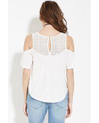 Forever 21 - Multicolor Crochet Open-shoulder Top - Lyst