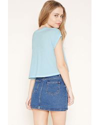 Forever 21 - Blue Cuffed Crop Top - Lyst