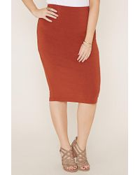 Forever 21 Brown Plus Size Knit Pencil Skirt