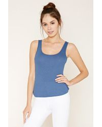 Forever 21 | Blue High-back Ribbed Knit Tank | Lyst