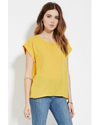 Forever 21 | Yellow Boxy Crepe Top | Lyst