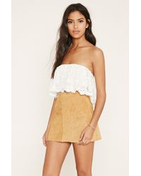 Forever 21 | White Embroidered Mesh Crop Top | Lyst