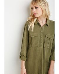 Forever 21 | Green Two-pocket Longline Shirt | Lyst