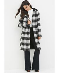 Forever 21 | Black Plaid Faux Shearling Coat | Lyst