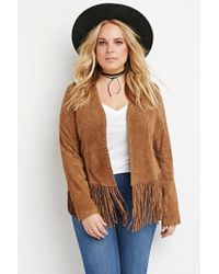 Forever 21 | Brown Genuine Suede Fringed Jacket | Lyst
