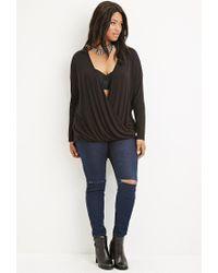 Forever 21 - Black Plus Size Lace-paneled Surplice Top - Lyst