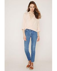 Forever 21 - Pink Contemporary Lace-paneled Top - Lyst