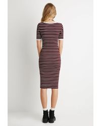 Forever 21 - Purple Striped-sleeve Tee - Lyst