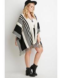 Forever 21 Black Plus Size Mixed Stripe Fringed Poncho