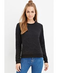 Forever 21 | Black Textured Floral-pattern Sweater | Lyst