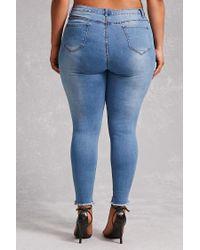 Forever 21 Blue Plus Size Sharkbite Jeans