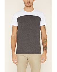 Forever 21 | White Colorblocked Cotton-blend Tee for Men | Lyst
