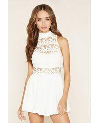 7834a836600 Lyst - Forever 21 Lovecat Crochet-paneled Romper in White