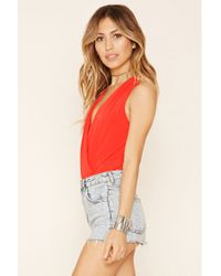 Forever 21 - Red Surplice Front Bodysuit - Lyst