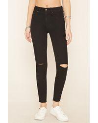 Forever 21 - Black Ripped Knee Skinny Jeans - Lyst