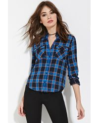 Forever 21 Blue Tartan Plaid Shirt