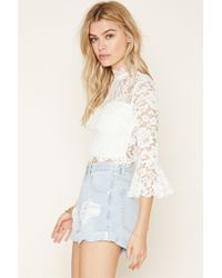 Forever 21 - White Eyelash Lace Crop Top - Lyst
