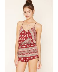 Forever 21 | Red Elephant Print Cami Playsuit | Lyst