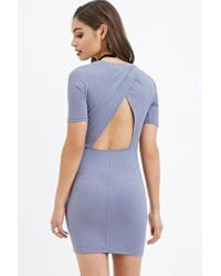 Forever 21 - Blue Cutout-back Ribbed Dress - Lyst