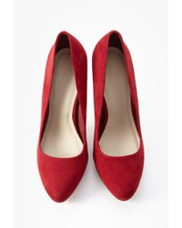 Forever 21 - Red Faux Suede Pumps - Lyst