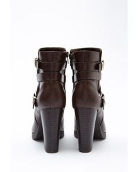 Forever 21 - Brown Strappy Faux Leather Booties - Lyst
