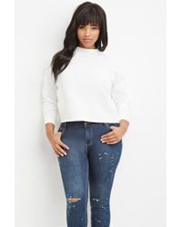 Forever 21 - White Plus Size Raw-cut Pullover - Lyst