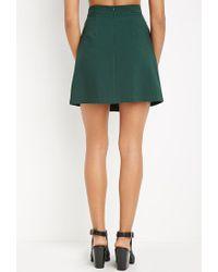 Forever 21 - Green Contemporary Paneled Crepe Skirt - Lyst