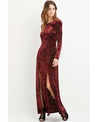 Forever 21 - Red Contemporary Crushed Velvet Maxi Dress - Lyst