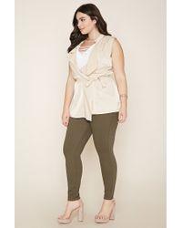 Forever 21 - Natural Plus Size Drape-front Belted Vest - Lyst