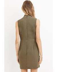 Forever 21 | Green Zippered Mini Sheath Dress | Lyst