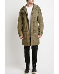 Forever 21 | Green Hooded Longline Cotton Jacket | Lyst