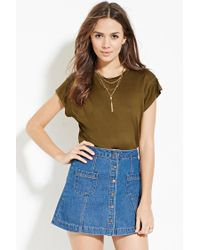 Forever 21 | Green Contemporary Curved-hem Top | Lyst