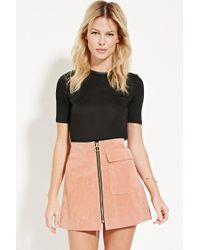 Forever 21 | Black Contemporary Zip-back Top | Lyst