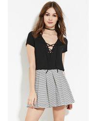 Forever 21   Black Pleated Stripe Skirt   Lyst