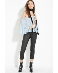 Forever 21 - Blue Contemporary Chiffon Open-shoulder Top - Lyst