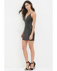 Forever 21 - Black V-neck Faux Leather Dress - Lyst