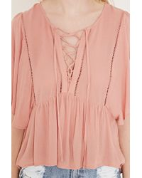 Forever 21 - Pink Flutter-sleeve Top - Lyst