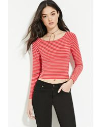 Forever 21 - Red Striped Wide-neck Top - Lyst