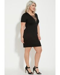 Forever 21 - Black Plus Size Lace-up Mini Dress - Lyst