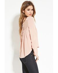 Forever 21   Pink Lace-paneled Lace-up Top   Lyst