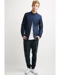 Forever 21 - Blue Contrast-trimmed Oxford Shirt for Men - Lyst