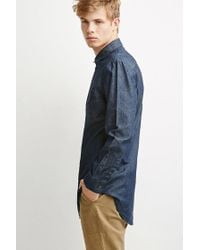 Forever 21 | Blue Longline Denim Shirt for Men | Lyst